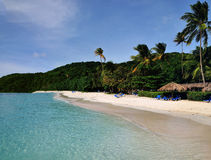 Blue waters of Palomino. Tropical beach of Palomino island in Puerto Rico Stock Images