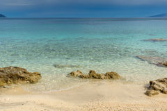 Blue waters of Pesada beach, Kefalonia, Greec Royalty Free Stock Images