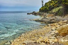 Blue waters of Pesada beach, Kefalonia, Ionian islands, Greece Royalty Free Stock Photo