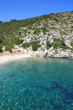 Blue waters of Rahi Beach, Ithaca, Ionian island Royalty Free Stock Images