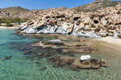 Blue Waters and  rock formations of kolymbithres beach, Paros island, Greece Royalty Free Stock Images