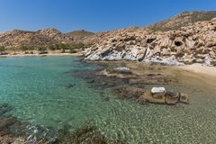 Blue Waters and  rock formations of kolymbithres beach, Paros island, Greece Royalty Free Stock Photo