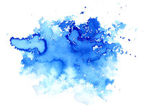Blue watery illustration.Ink drawing.Abstract watercolor hand drawn image. Wet splash.White background Royalty Free Stock Images
