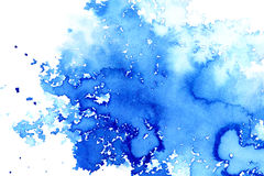 Blue watery illustration.Ink drawing. Abstract watercolor hand drawn image.Wet splash.White background Royalty Free Stock Photo