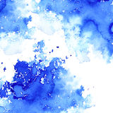 Blue watery illustration.Ink drawing. Abstract watercolor hand drawn image.Wet splash.White background Royalty Free Stock Photography