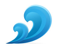 Blue wave. Wave. Vector illustration on white background Stock Image