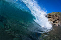 Blue Wave. Blue ocean wave breaking in Maui, Hawaii Royalty Free Stock Photography