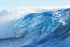 Blue Wave Abstract Background. Ocean waves and foam details abstract background, travel concept Royalty Free Stock Images