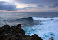 Blue Wave, Atlantic, Canary. Stormy water of oceanic waves, Atlantic, Canary Stock Images