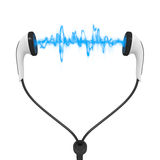 Blue wave audio earphones Royalty Free Stock Images