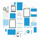 Blue wave corporate style template. Corporate identity template big set. Documentation for business. Vector, modern company style for brand book and guideline royalty free illustration