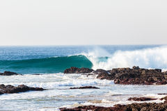 Blue Wave Crashing Rocks Beach Royalty Free Stock Image