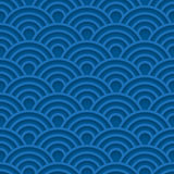 Blue wave 3d seamless pattern. Vector sea background with abstract shapes Royalty Free Stock Photography