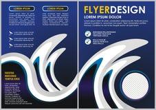 Blue wave Flyer template. Brochure design. A4 size Stock Images