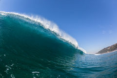 Blue Wave Hollow Tube Inside Swimming Water Royalty Free Stock Photography