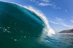 Blue Wave Hollow Tube Inside Swimming Water Stock Image
