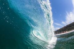Blue Wave Hollow Tube Inside Swimming Water Royalty Free Stock Images