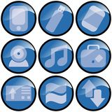 Blue Wave Icons. Nine assorted blue wave circular icons stock illustration
