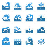 Blue Wave Icons Set Royalty Free Stock Image