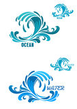 Blue wave icons with swirly water drops Royalty Free Stock Images