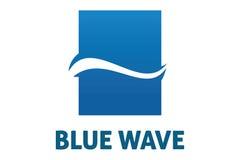Blue wave logo. Logo design of blue wave inside of rectange Royalty Free Stock Photo
