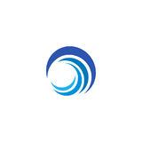 Blue wave logo. Isolated abstract decorative logotype, design element template on white background.  Stock Photo