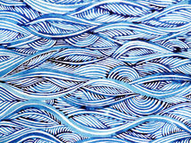 Blue wave minimal watercolor painting hand drawn japanese style Stock Photography