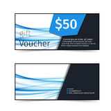 Blue wave pattern discount gift voucher Royalty Free Stock Photography