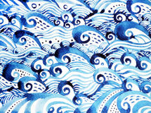 Blue wave pattern minimal watercolor painting hand drawn japanese style Stock Image