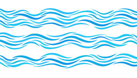 Blue wave patterns. Set of elements water. Royalty Free Stock Photo
