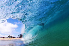 Blue Wave. A perfect wave at Sandy Beach in Hawaii Royalty Free Stock Image