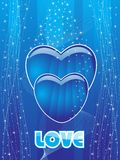 Blue wave, shiny star background with heart Royalty Free Stock Images
