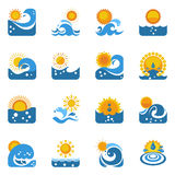 Blue Wave With Sun Icons Set Stock Images