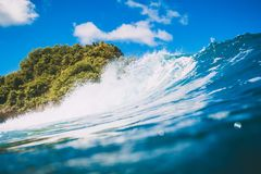 Blue wave for surfing in tropical ocean. Stock Photography