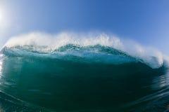 Blue Wave Swim Inside Crashing Water Stock Images