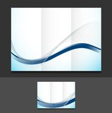 Blue wave trifold template illustration Royalty Free Stock Photo