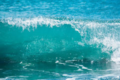 Blue wave in tropical ocean. Barrel crashing and sun light. Clear water. Royalty Free Stock Photography