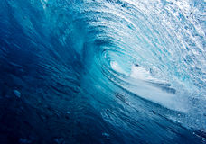 Blue Wave in the Tube Stock Image