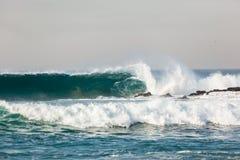 Blue Wave Wall Crashing Rocks Beach Stock Photography