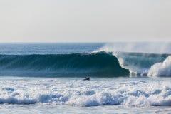 Blue Wave Wall Crashing Surfer Paddling Royalty Free Stock Images