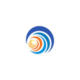 Blue wave and yellow, orange sun, sunset and sunrise logotype. Isolated abstract decorative logo, design element. Template on white background Royalty Free Stock Photo