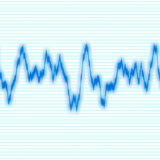 Blue Waveform. A blue audio waveform over a black background.  It also could be a heart rate monitor Stock Photos