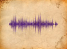 Waveform on the dirty background. Blue waveform on the dirty aged paper Stock Images