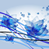 Blue waves. Vector blue waves with flowers royalty free illustration