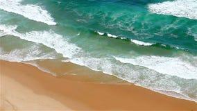 Blue waves Atlantic Ocean meeting sand stock footage
