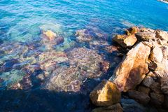 Blue waves break on the rocks of the shore stock images