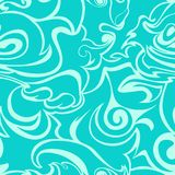 Blue Waves, Curls On A Turquoise Background. Stylized Flame Seamless Pattern Royalty Free Stock Photos