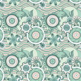 Blue waves and flowers. Geometric pastel seamless floral pattern Stock Photography