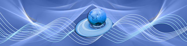 Blue waves with globe Stock Photos