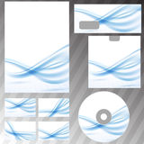 Blue waves lines corporate stationery set Royalty Free Stock Photography